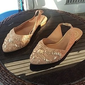 Jack Rogers Rory cork pointed toe sling back flats